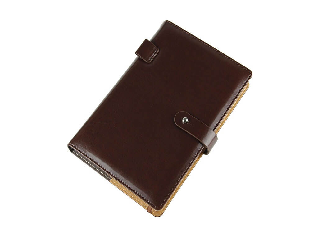 dark brown leather diary